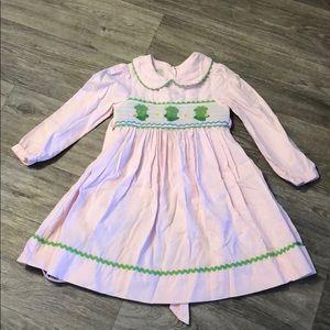 Spring smocked corduroy frog dress